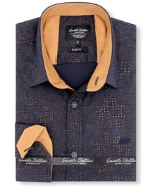 Gentili Bellini Mens Shirts - Dotted Design - Blue