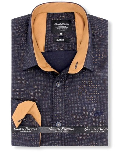 Gentili Bellini  Herrenhemd - Dotted Design - Blau