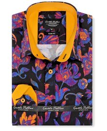 Gentili Bellini Herrenhemd - Luxus Design Satin - Blau / Orange