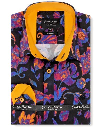 Gentili Bellini Heren Overhemd - Luxury Design Satin - Blauw / Orange