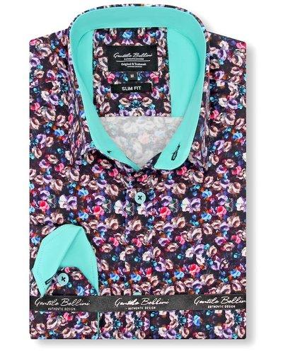 Gentili Bellini Heren Overhemd - Luxury Flower Design Satin - Blauw