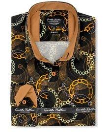 Gentili Bellini Herrenhemd - Luxus Design Satin - Schwarz / Braun