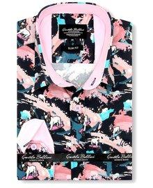 Gentili Bellini Herrenhemd - Luxus Design Satin - Blau / Rosa