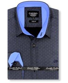 Gentili Bellini Heren Overhemd - Dotted Design - Zwart