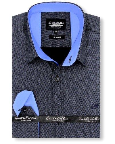 Gentili Bellini  Herrenhemd - Dotted Design - Schwarz