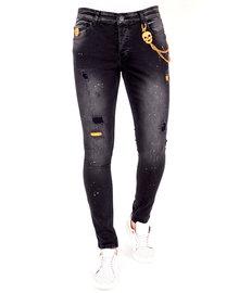 Local Fanatic Herren Jeans - Slim Fit - LF-DNM-1028 - Schwarz