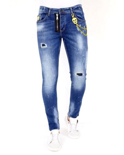 Local Fanatic Heren Jeans - Slim Fit - LF-DNM-1023 - Blauw