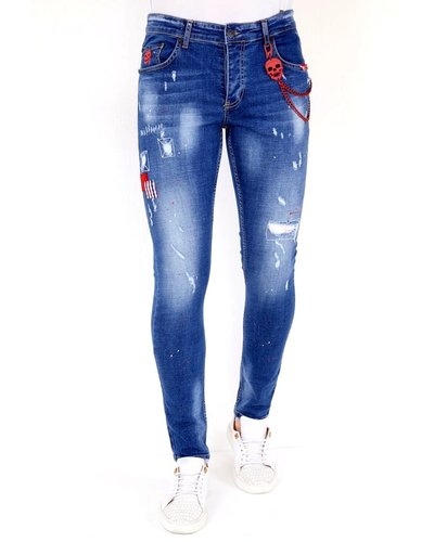 Local Fanatic Heren Jeans - Slim Fit - LF-DNM-1030 - Blauw