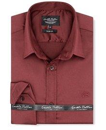 Gentili Bellini Heren Overhemd - Luxury Plain Satin - Bordeaux
