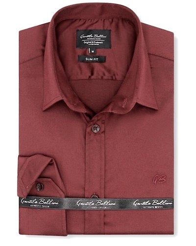 Gentili Bellini Camisa Clasica Hombre - Luxury Plain Satin - Burdeos