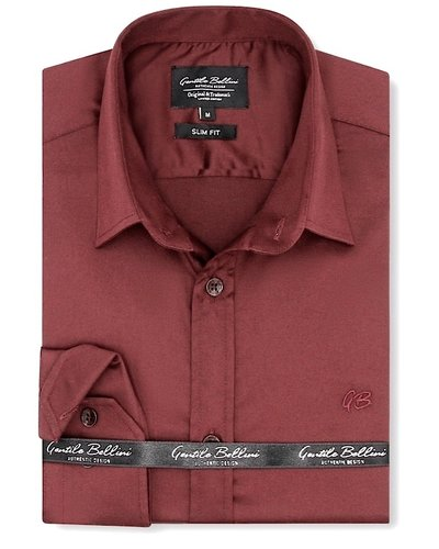 Gentili Bellini  Herrenhemd - Luxus Plain Satin - Bordeaux