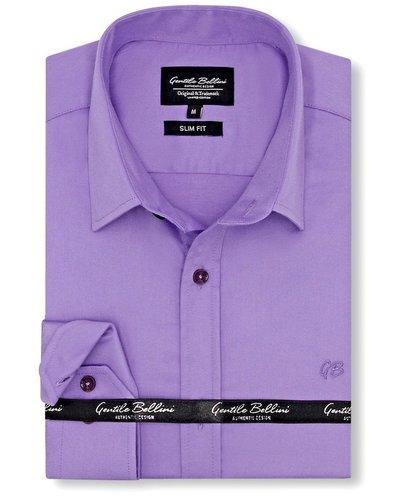 Gentili Bellini Mens Shirts - Luxury Plain Satin - Purple