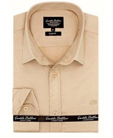 Gentili Bellini Heren Overhemd - Luxury Plain Satin - Beige