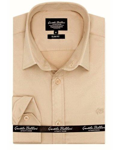 Gentili Bellini Camisa Clasica Hombre - Luxury Plain Satin - Beige
