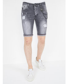 Local Fanatic Herren Denim Shorts - Slim Fit - LF-DNM-1039 - Grau