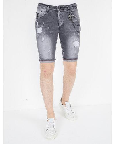 Local Fanatic Heren Denim Short - Slim Fit - LF-DNM-1039 - Grijs