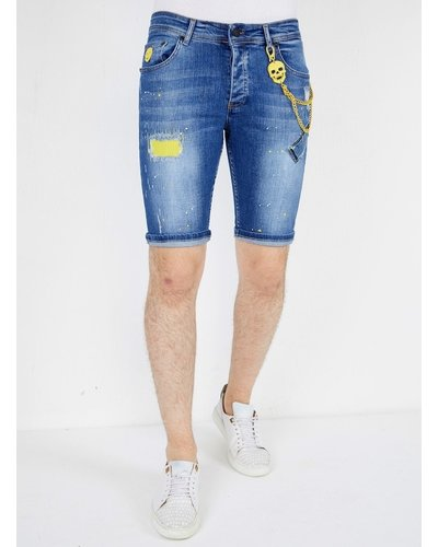 Local Fanatic Heren Denim Short - Slim Fit - LF-DNM-1046 - Blauw