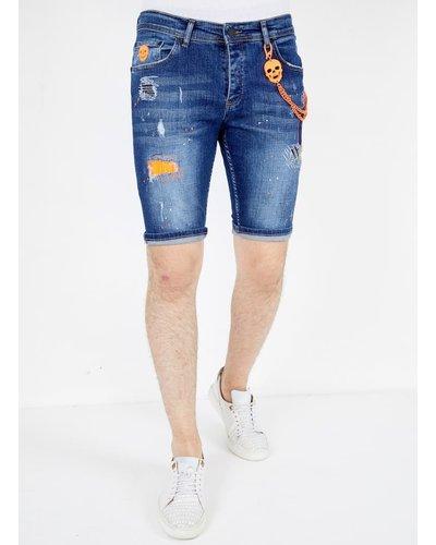 Local Fanatic Heren Denim Short - Slim Fit - LF-DNM-1049 - Blauw