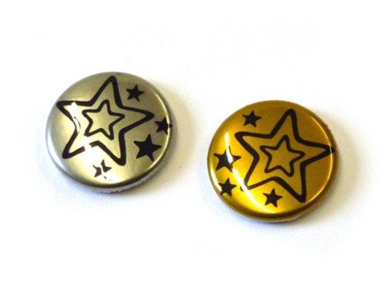 25 mm button met metaaleffect