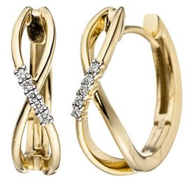 Diamant Creolen Infinity Gelbgold 585