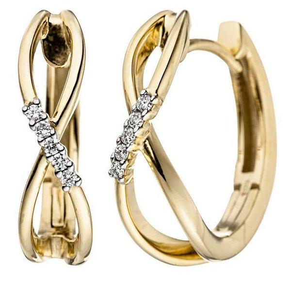 Creolen Infinity mit Diamanten, 585 Gelbgold