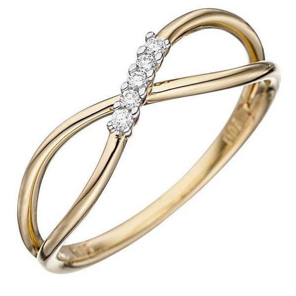 Infinity Ring mit Diamanten aus 585 Gelbgold