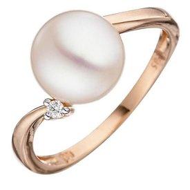 Perlen Diamantring Rotgold 585