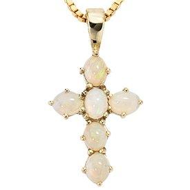 Kreuz-Anhänger Opale 585 Gelbgold