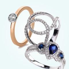 Diamantringe, Goldringe, Weißgoldringe und Silberringe