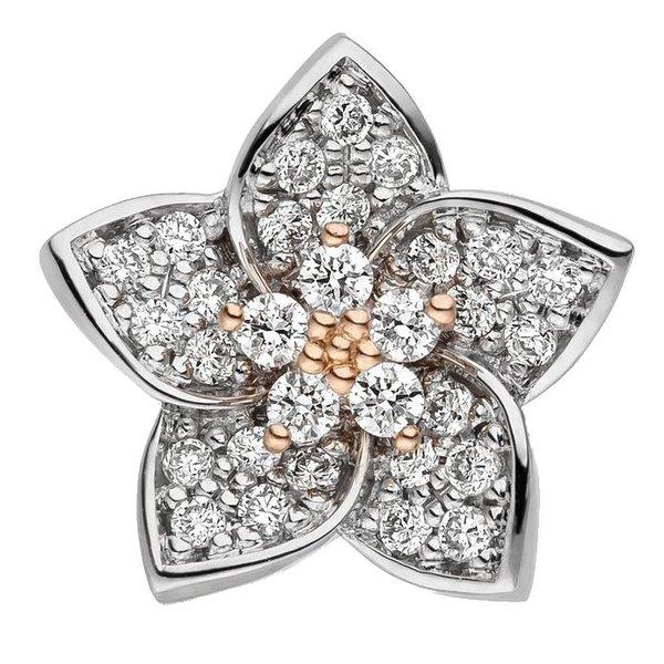 Diamant Anhänger Blüte  aus 585 Weißgold/Rotgold