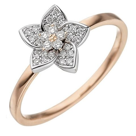 Diamant Ring Blüte Rotgold/Weißgold 585