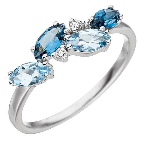 Damenring mit 4 Blautopasen und Diamanten, Weißgold 14K