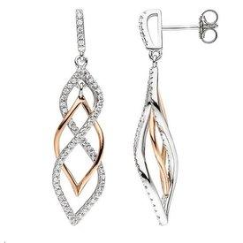 Zirkonia Silber Ohrhänger teilrotvergoldet
