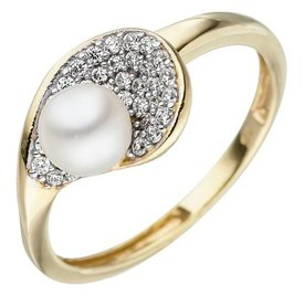 Perlenring mit Zirkonia Gelbgold 375
