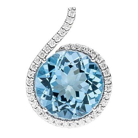 Blautopas Diamant Anhänger Weißgold 585