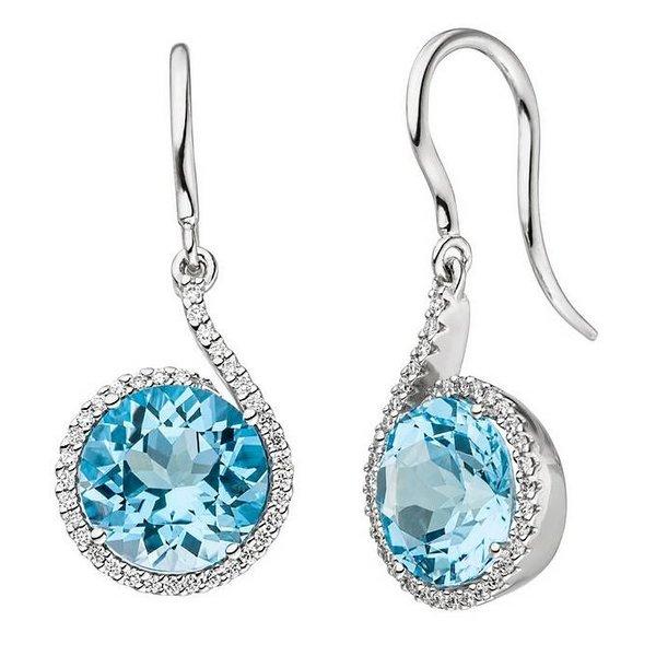 Ohrhänger mit je 1 Blautopas und Diamanten, Weißgold 585