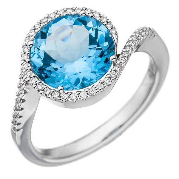 Ring mit Blautopas und Diamanten, Weißgold 585