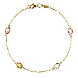 Armband 585 Gelbgold mit Farbedelsteinen