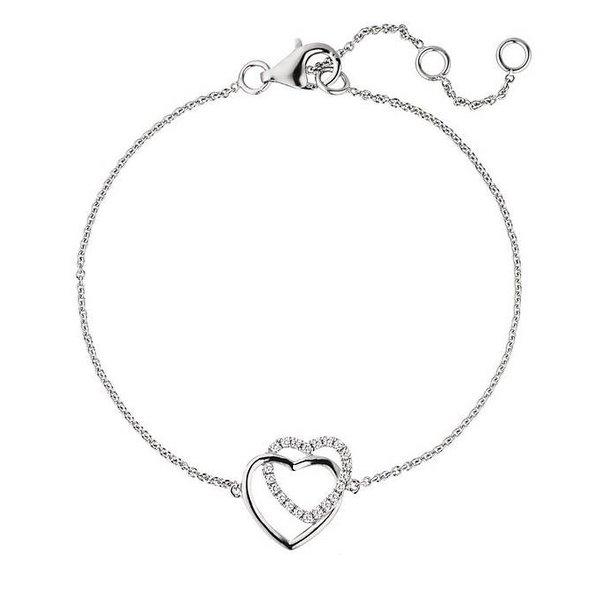 Silberarmband Herzen mit Zirkonia