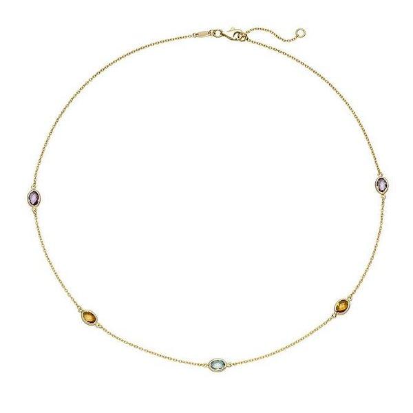 Collier mit Farbedelsteinen, Gelbgold 585 (14 Karat)