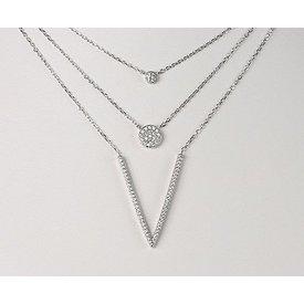 3-reihiges Collier mit Zirkonia 925 Silber