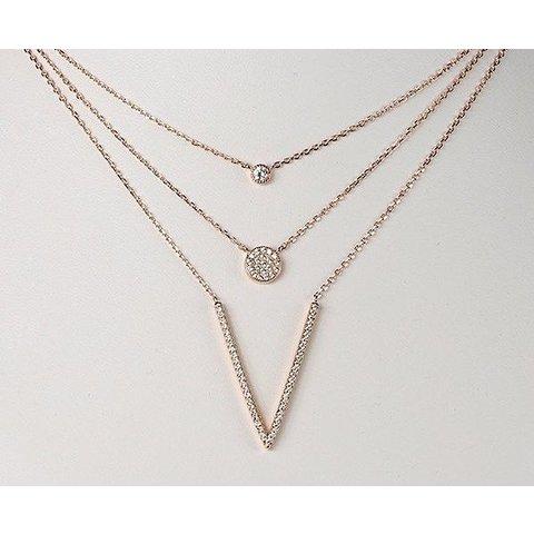 3-reihiges Collier mit Zirkonia 925 Silber vergoldet