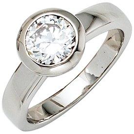 Solitär Zirkonia Ring Silber 925