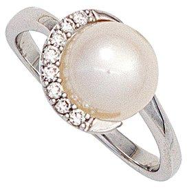 Perlenring mit Diamanten Weißgold 585