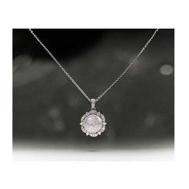 Perlen Collier mit Zirkonia 925 Silber
