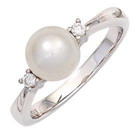 Perlenring mit Diamanten, Weißgold 585