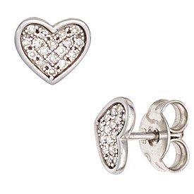Ohrstecker Herz, Weißgold 585 mit Diamanten