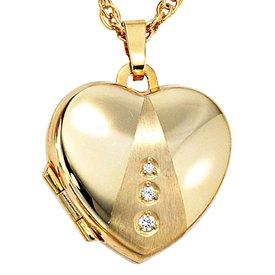 Medaillon Herz mit Zirkonia Gelbgold 333