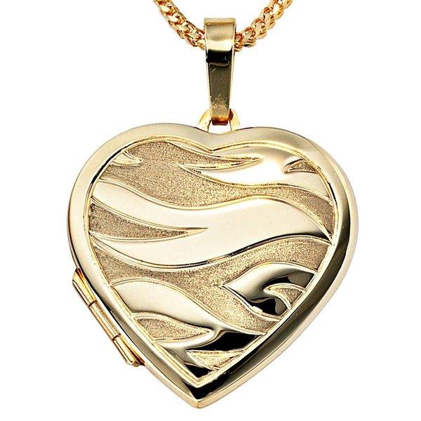 Medaillon, Anhänger Herz aus Gelbgold 585