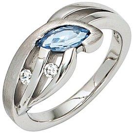 Silberring Sterlingsilber mit Zirkonia weiß und blau